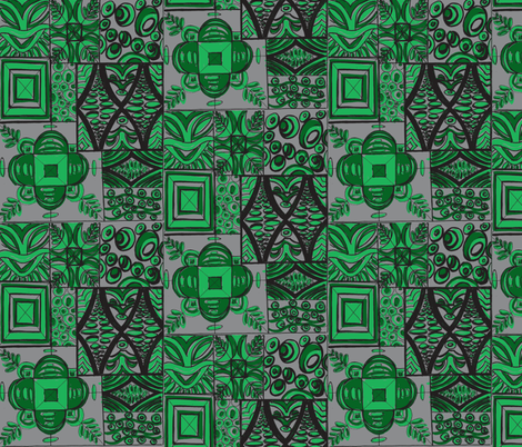 Old School ,Mana Mohala, jade  on grey fabric by sophista-tiki_by_dawn_frasier on Spoonflower - custom fabric