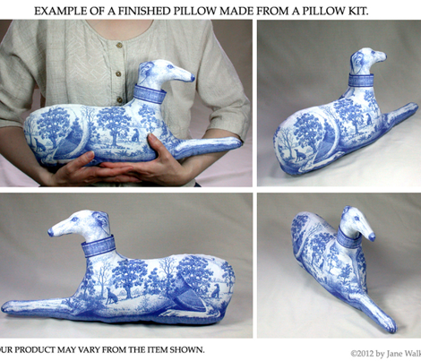 Toile Greyhound in blue, stuffed pillow kit - male