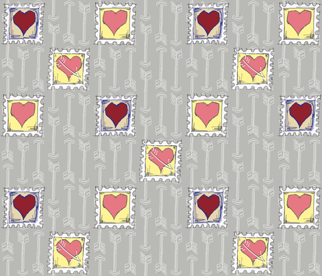 Cupids_Arrow_3_hearts fabric by dermotogrady on Spoonflower - custom fabric