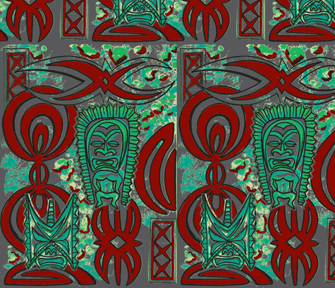 Flashback, red and turquoise on grey fabric by sophista-tiki on Spoonflower - custom fabric