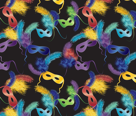 Mardi Gras masks fabric by kociara on Spoonflower - custom fabric