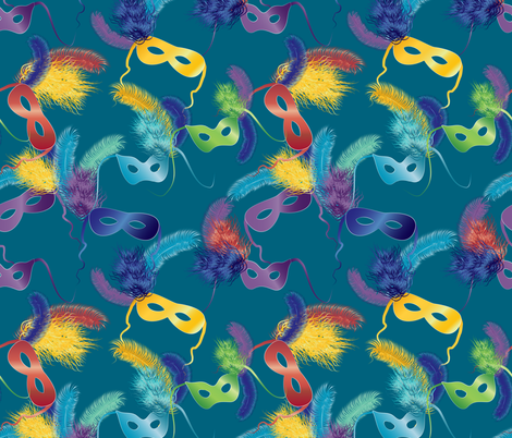Mardi Gras masks on teal fabric by kociara on Spoonflower - custom fabric