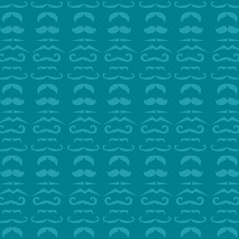 Teal Mustache Fabric fabric by amyteets on Spoonflower - custom fabric