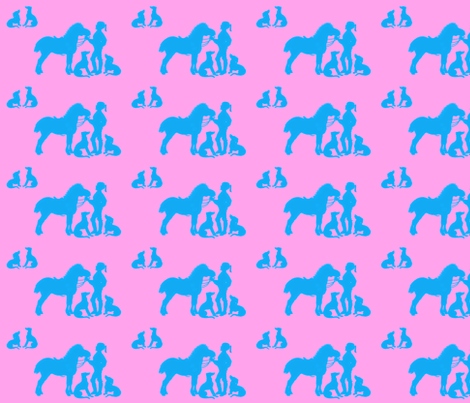 A girl and her pony...and her dogs. fabric by ragan on Spoonflower - custom fabric