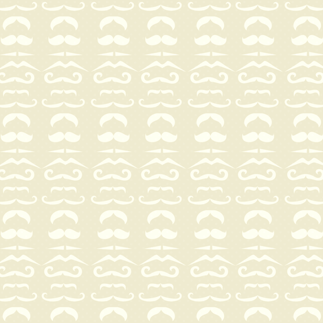 Cream Mustache Fabric fabric by amyteets on Spoonflower - custom fabric
