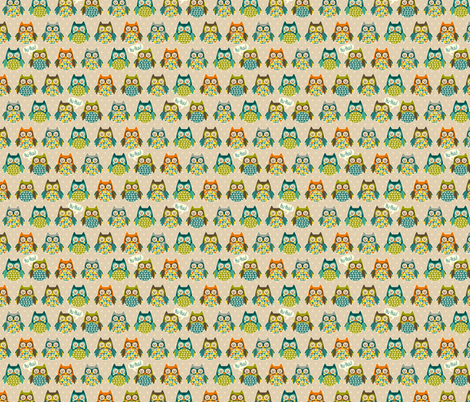 hooting owls fabric by kaeselotti on Spoonflower - custom fabric