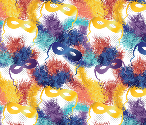 party masks on polka dot fabric by kociara on Spoonflower - custom fabric