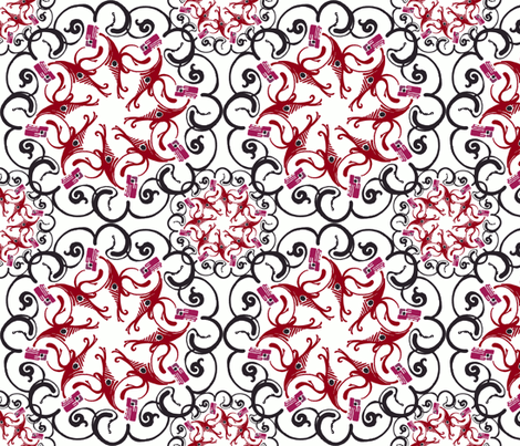 dancing shrimp fabric by clarissagunndesign on Spoonflower - custom fabric