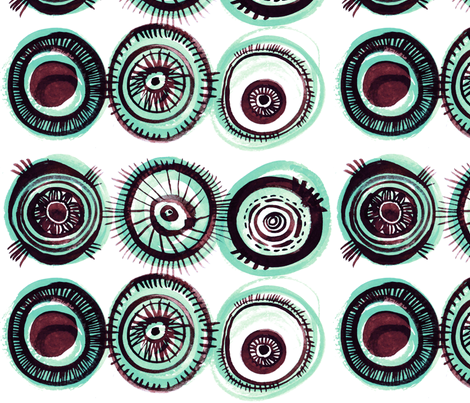 Fischaugen (Fish Eyes) in ocean fabric by atelierk on Spoonflower - custom fabric