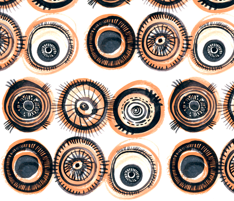 Fischaugen (Fish Eyes) in cantaloupe fabric by atelierk on Spoonflower - custom fabric