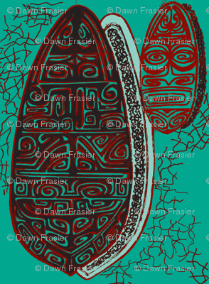 The Polynesian with tiki, red on turquoise