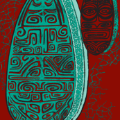 The Polynesian with tiki, turquoise on red