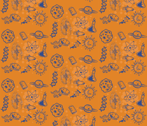 Science is Awesome! {in orange} fabric by luisapizza on Spoonflower - custom fabric