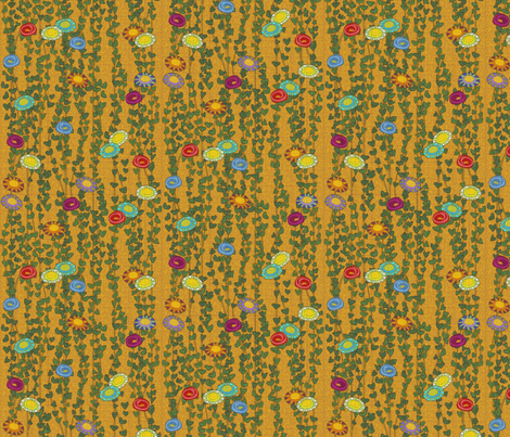 klimt vines and flowers fabric by glimmericks on Spoonflower - custom fabric