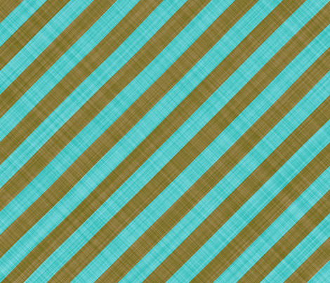 Diagonal Linen Stripe - Brown Turquoise fabric by bonnie_phantasm on Spoonflower - custom fabric