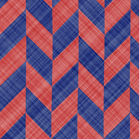 Chevron Linen - Zigzag Alternate - Blue Red fabric by bonnie_phantasm on Spoonflower - custom fabric