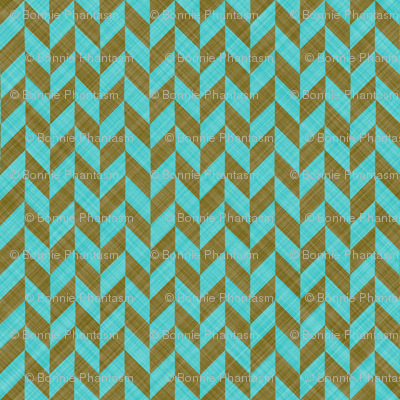 Chevron Linen - Zigzag Alternate - Brown Turquoise