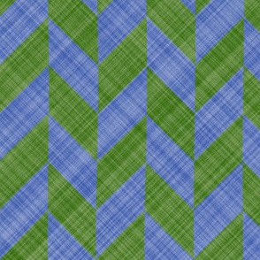 Chevron Linen - Zigzag Alternate - Green Blue