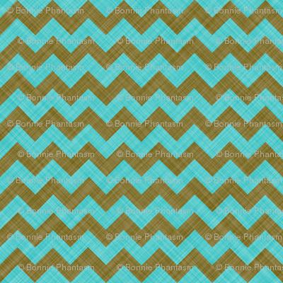 Chevron Linen - Zigzag - Brown Turquoise
