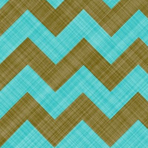 Chevron Linen - Zigzag - Brown Turquoise