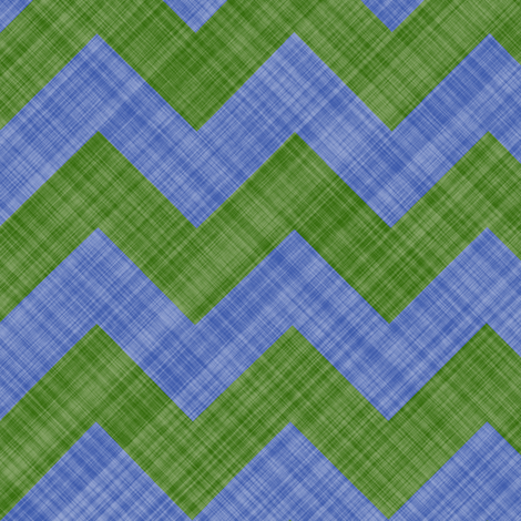 Chevron Linen - Zigzag - Green Blue