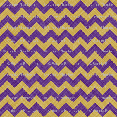 Chevron Linen - Zigzag - Purple Yellow