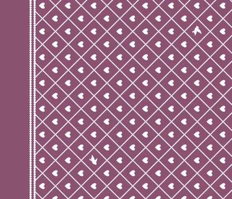 Never Far Away - Border Fabric (color: antique rose) fabric by penina on Spoonflower - custom fabric