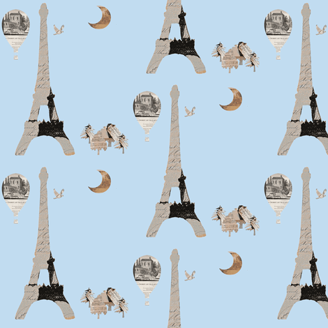 Paris Powder blue fabric by karenharveycox on Spoonflower - custom fabric