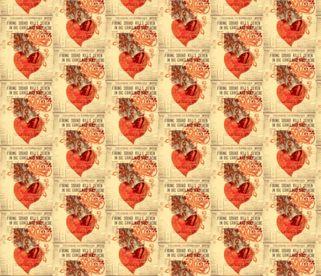 Hearts and newspaper fabric by janalinde on Spoonflower - custom fabric