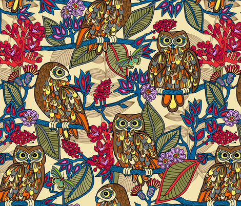 My boobooks,Australian owls. fabric by juliagrifol on Spoonflower - custom fabric
