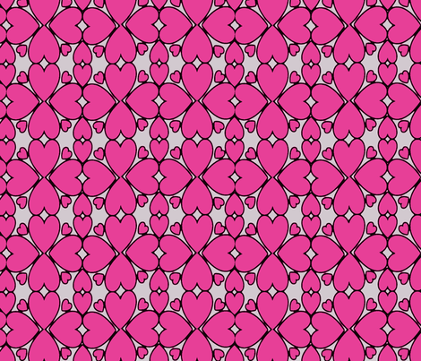 All Hearts Lace in Pink on Gray fabric by yomarie on Spoonflower - custom fabric