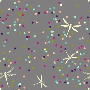 Dragonfly Dots - Grey