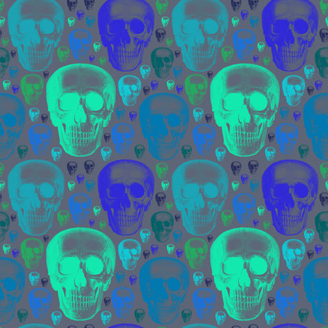 skulls greens/blues one direction fabric by susiprint on Spoonflower - custom fabric