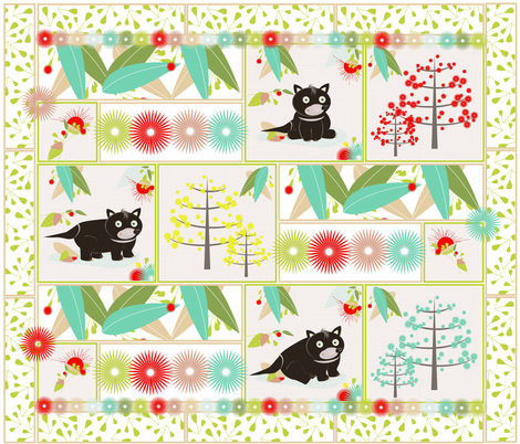 Tassie Devil Patchwork fabric by designedtoat on Spoonflower - custom fabric