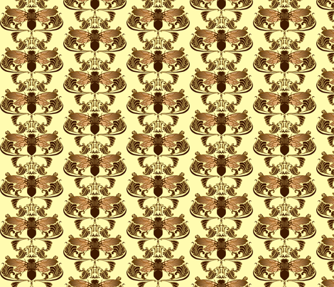 Chocolate Cicada Damask fabric by redsixwing on Spoonflower - custom fabric