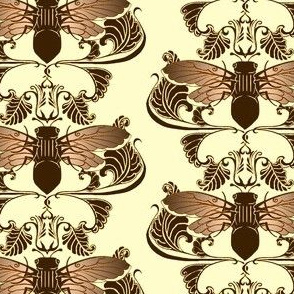 Chocolate Cicada Damask
