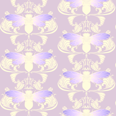 Lavender Cicada Damask fabric by redsixwing on Spoonflower - custom fabric