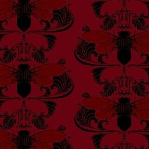 Wine-Red Cicada Damask