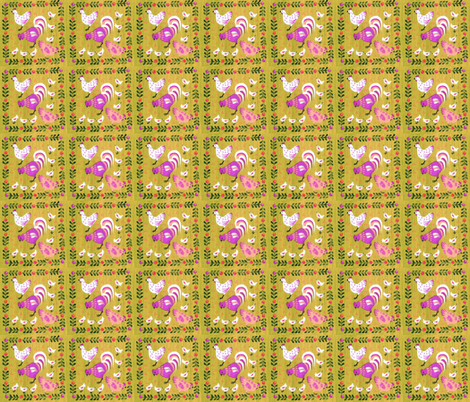 Spring Chickens- sandy fabric by mybohohome on Spoonflower - custom fabric