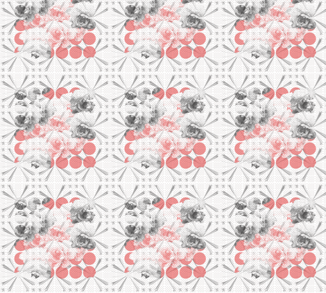 Peonies & Vermilion Dots fabric by lesfleursdemimi on Spoonflower - custom fabric
