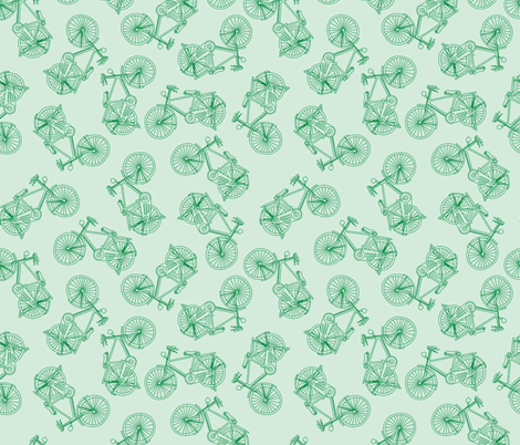 Bikes Blue Green fabric by curious_nook on Spoonflower - custom fabric