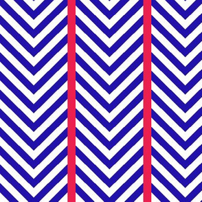 Blue Chevrons with Red Stripes