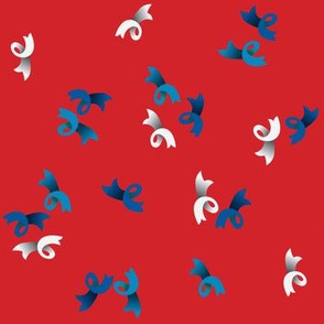 Little blue and white bows on red background - 1940s