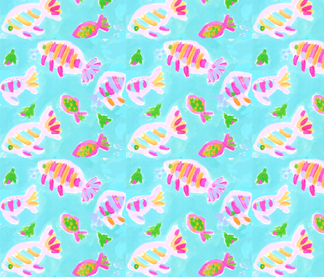 Mint Fish fabric by sarah&caroline on Spoonflower - custom fabric