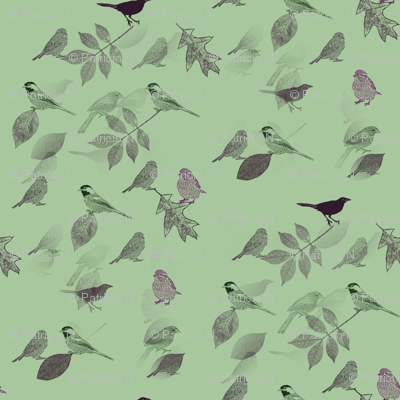 Green Birds and Leaves