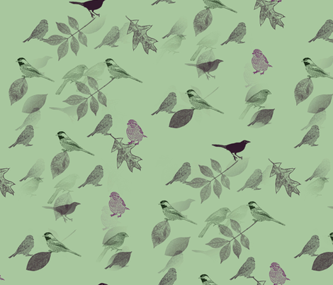 Green Birds and Leaves fabric by pencreations on Spoonflower - custom fabric