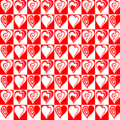 Hearts in red and white
