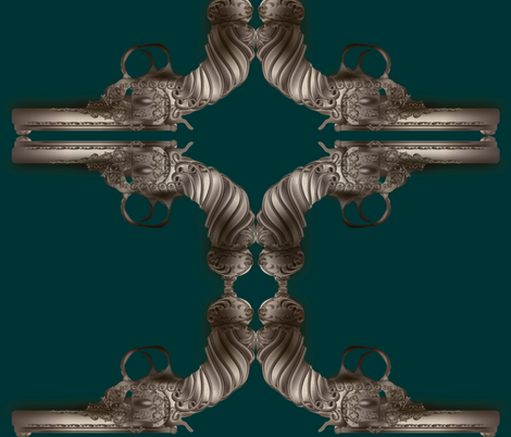 steampunk-gun-teal fabric by boneyfied on Spoonflower - custom fabric
