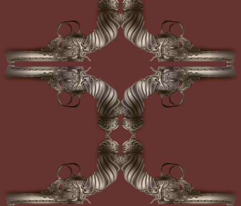 steampunk-gun-mauve fabric by boneyfied on Spoonflower - custom fabric