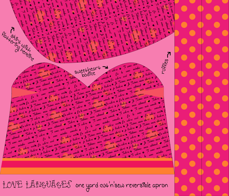 Love Languages Cut & Sew Reversible Sweetheart Apron (Click for full pattern) fabric by fortheloveofholidays on Spoonflower - custom fabric